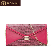Honggu red Valley counter 2015 genuine crocodile pattern leather shoulder bag clutch bag chain 2346