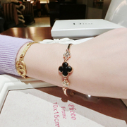 Mail-free rose gold diamond jewelry Korean version of exquisite luxury four-leaf clover bracelet women delicate wild fashion new style