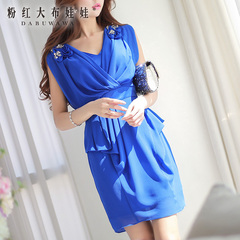 New dress big pink dolls 2015 Xia Bao blue hand nail drill beads fake two piece dress