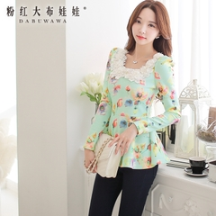 Bottoming shirt women pink doll summer 2015 new ladies printed skirt long long sleeve t-shirt