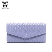 Ms Wan Lima fashion handmade Sheepskin purse wallet large zip around wallet macarons with a money clip