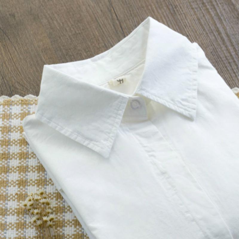 開波秋裝加絨保暖衫純色尖領白襯衫女士長袖 百搭修身打底襯衣