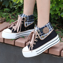 春秋季款高帮帆布鞋少2f7厚底平底kk跟休闲鞋学生鞋板鞋加绒