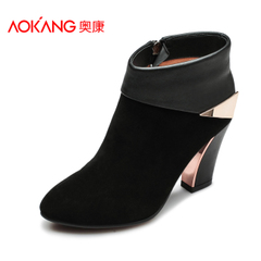 Aokang shoes fall winter leather ultra suede high heel pointy booties sheep genuine elegant women's boots side zipper bag-mail