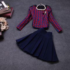 2014 two-piece early fall the new European fashion temperament suits pleated skirt autumn Plaid long sleeve dress #
