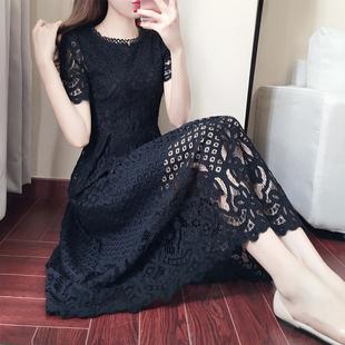 夏季女装新款镂空蕾丝长裙韩版短
