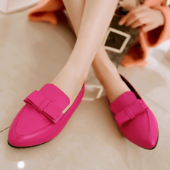 2015 spring new Korean version of the simple bow casual women shoes fashion flat pointy Joker shoes with solid color