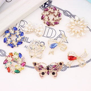 Cool na Korean sweaters accessories Crystal pin brooch men and women scarves shawls buckle jewelry clasp brooch 9013