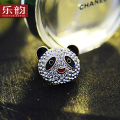 Christmas present Korea new upscale and lovely personality full rhinestone Panda Crystal brooch brooch pin woman