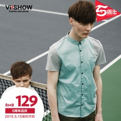 Viishow2015 summer dress new style short sleeve shirt small mosaic color fresh men's short sleeve shirt shirts