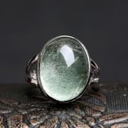 Three edge card treasure natural green adjustable ghost ring ring Crystal Jewelry Gifts for men and women
