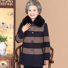 高档老年人冬装女60-70岁羊毛呢外套奶奶装秋装老人衣服春秋上衣