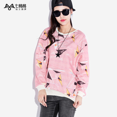 Seven space space OTHERMIX geometric profile loose long sleeve printed crewneck Wei Yinv