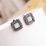 Good jewelry Korea fashion quality square diamond earring girl Korean version of simple dark green decorative studs earrings