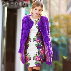 Summer dress big pink doll 2015 new women's romantic roses printed long sleeve bag hip dress