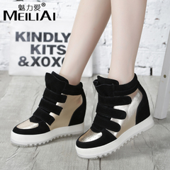 2015 new leather Hi shoes women shoes with high platform shoes sneaker in Korean version of casual wedges boots