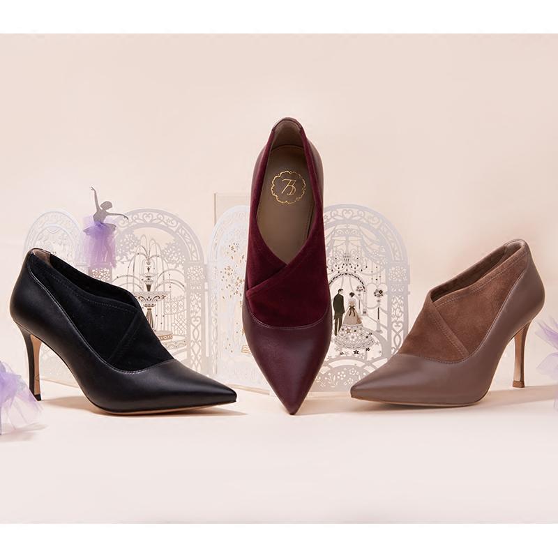 73Hours Young Lily 秋冬季款时尚高跟靴子 尖头踝靴 昆凌同款