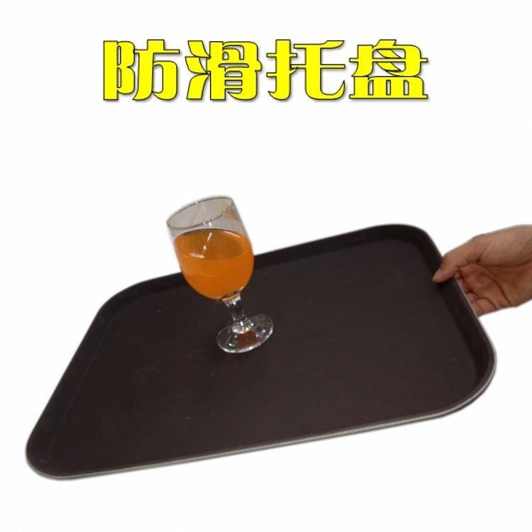 酒店防滑咖啡色托盘抗摔KTV酒吧餐厅餐具长方型钢化材质特价