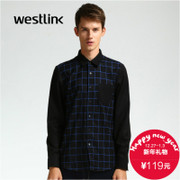 Westlink/West new stylish long sleeve Plaid mosaic circle set 2015 winter men's casual shirts
