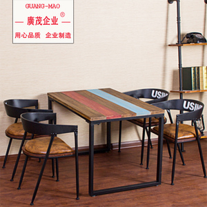 Solid wood American country assembled dining table bar small apartment wrought iron vintage residential furniture leisure coffee table desk