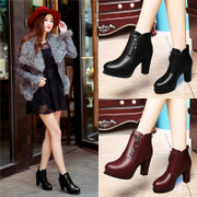 Shield Fox fall 2015 coarse platform high heels designer shoes fashion casual round head wind of England shoes