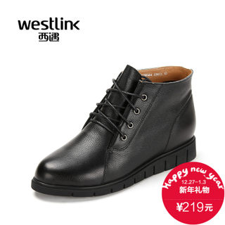 2015 West autumn new round head with thick leather strap, Martin boots short boots women's shoes at the end of the tide