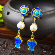 Very Thai cloisonne blue carp burning natural Pearl Stud Earrings 925 Silver ladies long earrings new