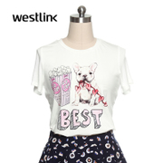Westlink/West meets cute printed short sleeve t-shirt women's clothing
