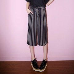 New spring/summer QUEENZZ leisure Korean 2015 vertical stripes chiffon tied elasticized waist cropped wide leg trousers
