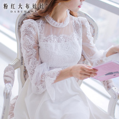 Lace dress big pink doll summer 2015 new Womenswear temperament slim white dress