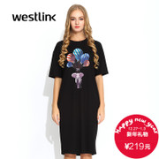 Westlink/West ladies jumpsuit printing 2015 autumn casual short sleeve Western dress long skirt balloons