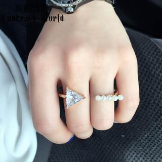 Compact ornament zircon creative double Pearl ring in Europe and America even refers to the sweet wind of jewelry customers ring