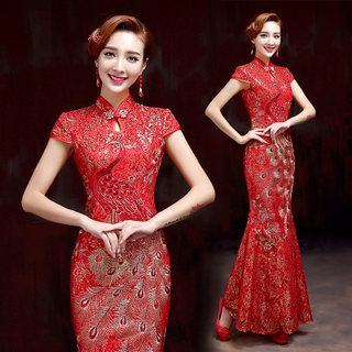 Chinese qipao the bride toast clothing fashion wedding gowns 2015 new vintage modified cheongsam dress spring/summer