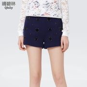 Linda 2015 spring green and sunny new women's high waist slim fit slim nail drill Joker fashion straight leg pants