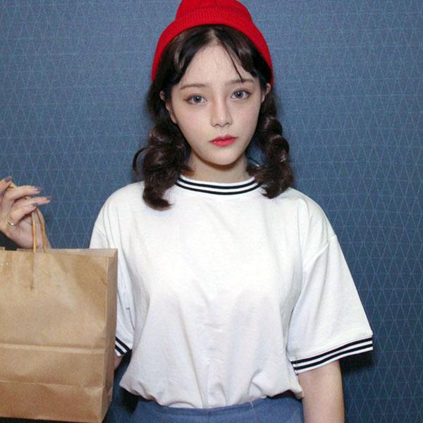夏装短袖t恤女生半截袖宽松显瘦学院风夏季韩版潮学生原宿风衣服
