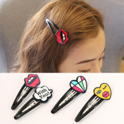 Know NI Japanese and Korean edition graffiti lips loving eyes clip Korea hair clip bangs hair hair hair accessories