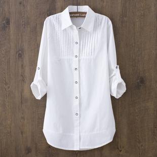 韩版中长款全棉长袖打底白衬衫