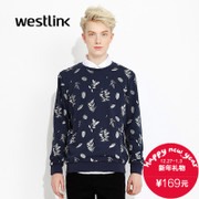 Westlink/West fall 2015 new men's printed long sleeve round neck pullovers sweaters sweater