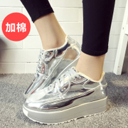 2015 winter season new Korean version of thick-soled platform shoes and leisure shoes flat plus velvet sneakers women's shoes color shoes