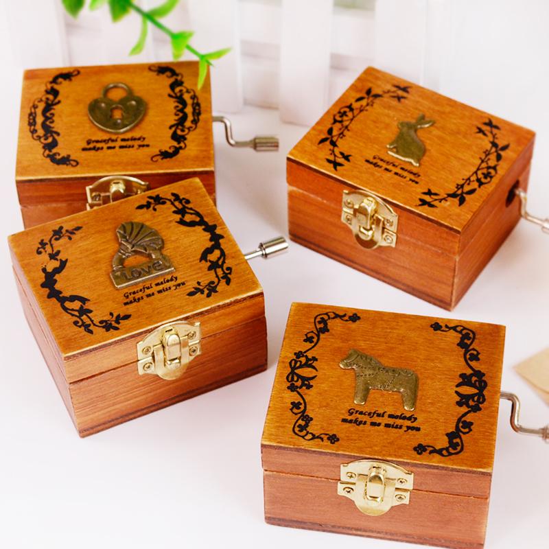 复古手摇音乐盒迷你木质八音盒天空之城创意生日礼物男生女生朋友