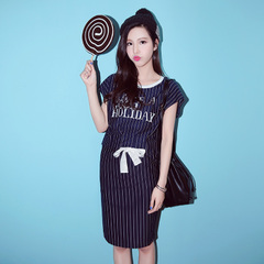 QUEENZZ/2015 vertical stripes letters laced with short sleeves in spring and summer skirts Korean leisure suit Chao TZ058