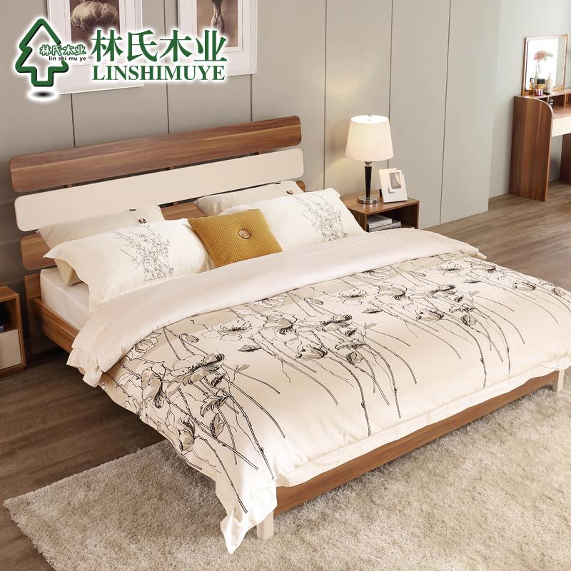 林氏木业1.8米现代双人床简约床头柜床垫组合卧室成套家具CP4A-A产品展示图1