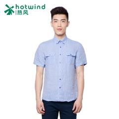 Hot new style men's short sleeve linen shirt Korean City Boy Slim shirts in summer leisure 03W5409