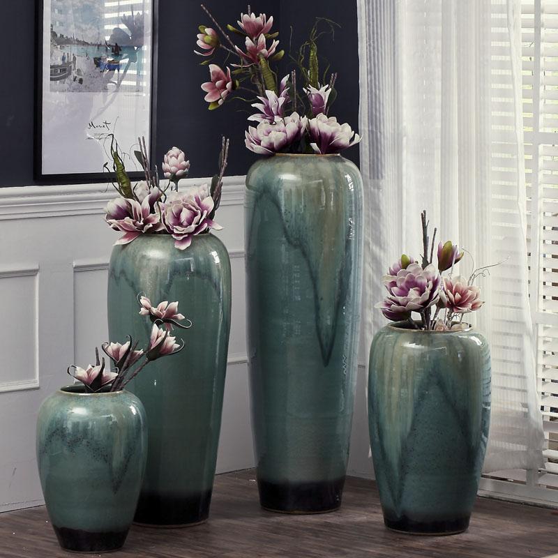 欧式创意景德镇陶瓷落地大花瓶陶罐插花客厅酒店别墅家居软装饰品
