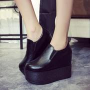 Korean autumn new platform platform wedges shoes women's the lazy man pedals round-headed high heel shoes trends