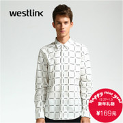 Peaked lapel Westlink/West New 2015 winter leisure cotton fitted men's long sleeve checkered shirt