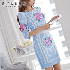 Retro dress big pink doll temperament of summer 2015 new blue printed Pearl flower dress