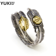 YUKI hipster vintage Thai silver ring 925 Silver jewelry men''s Indian feather shedding ring girls lovers