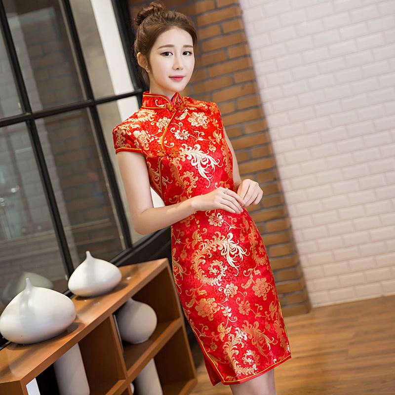 礼仪旗袍迎宾小姐服红色短款女修身学生接待酒店礼仪服装迎宾礼服
