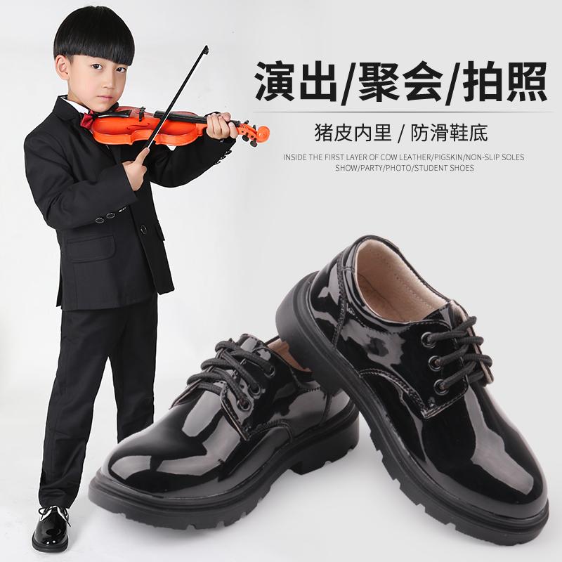 儿童皮鞋男黑色单鞋英